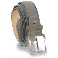 Cintura in camoscio e nastro jaquard 4cm, Grigio/Taupe