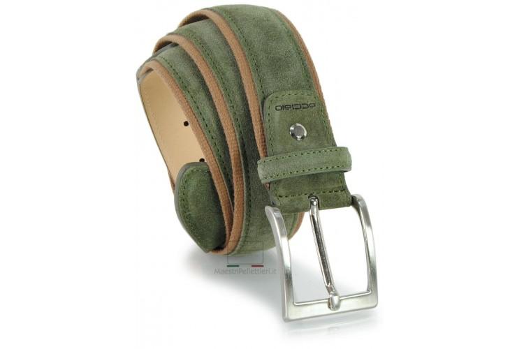 Cintura in camoscio e nastro jaquard 4cm Verde