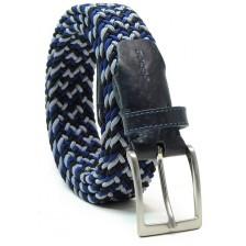 Braided stretch belt elastic multicolor Blu/Grey/Black
