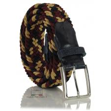 Cintura intrecciata elastica multicolore Blu/Nero/Bordò/Beige
