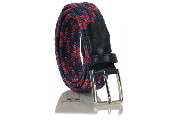 Cintura intrecciata elastica multicolore Blu