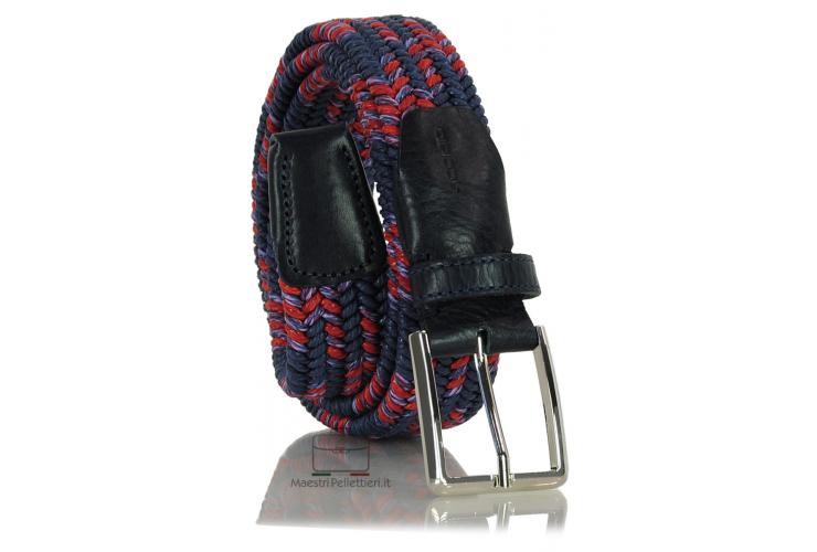 Braided stretch belt elastic multicolor Blu