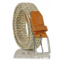 Cintura intrecciata elastica multicolore Beige/Bianco