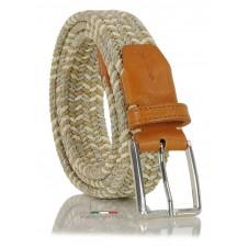 Braided stretch belt elastic multicolor Beige/White