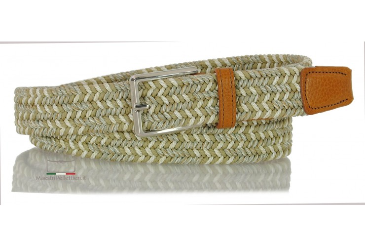 Braided stretch belt elastic multicolor Beige/White