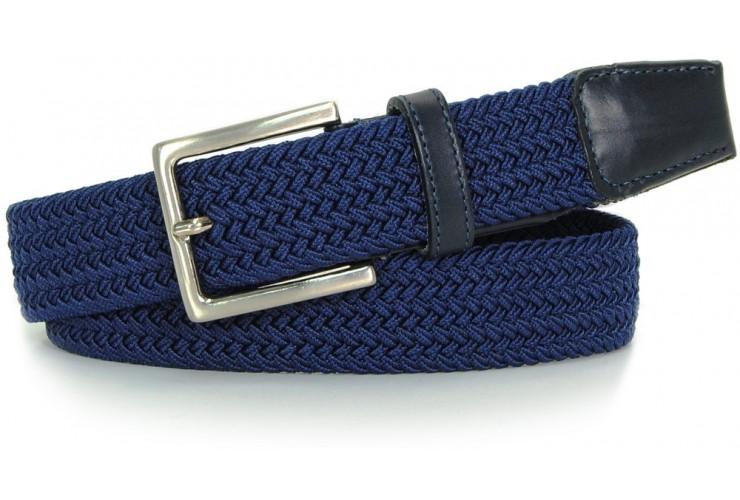 Braided stretch belt, elastic, Blu-Sky