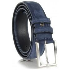 Cintura nabuk su vitello Blu