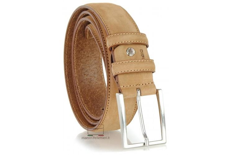 Cintura nabuk su vitello Cuoio chiaro