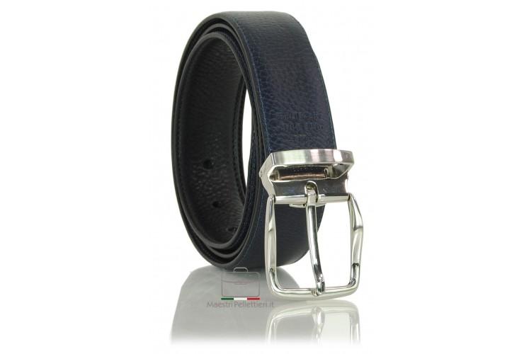 Cintura double face da uomo in pelle Cuoio Toscano Nero/Blu