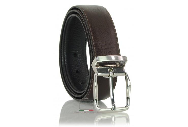 Double side reversible men's belt in vegetable leather Black/Brown