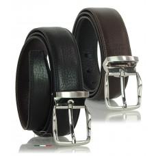 Cintura double face da uomo in pelle Cuoio Toscano Nero/Marrone