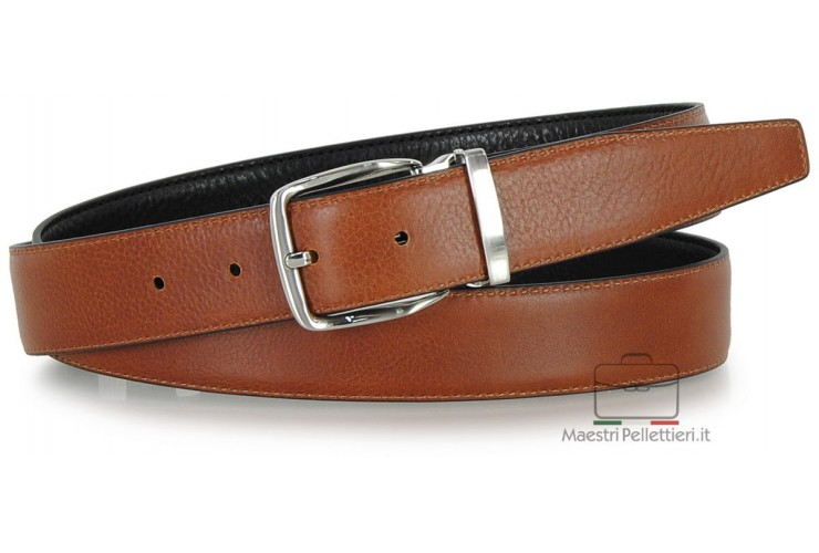 Double side reversible men's belt in vegetable leather Black/Cognac