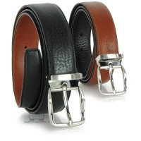 Cintura double face da uomo in pelle Cuoio Toscano Nero/Cognac