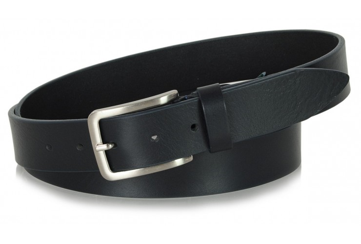 Belt in thick Leather 3,5cm Blu