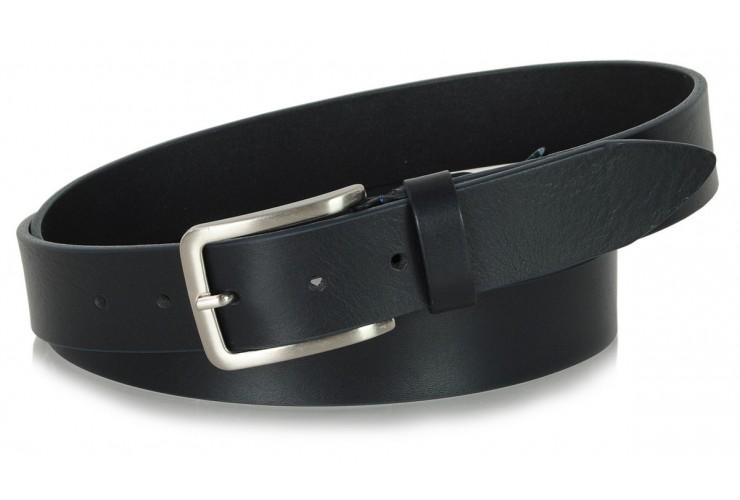 Cintura in Cuoio volanato morbido 3,5cm Blu