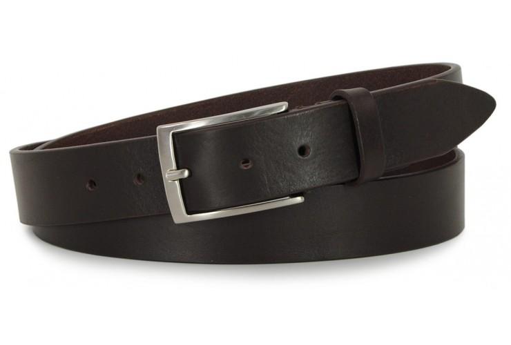 Cintura in Cuoio volanato morbido 3,5cm Marrone/Moka extra lunga