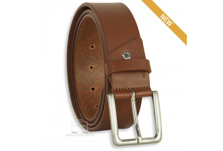 Belt in thick Leather 4cm Cognac/Brown