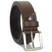 Cintura in Cuoio volanato morbido 4cm Marrone