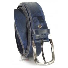 Cintura moda in Cuoio spazzolato con fibbia scurita Blu