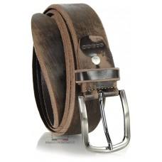 Cintura moda in Cuoio spazzolato con fibbia scurita Marrone
