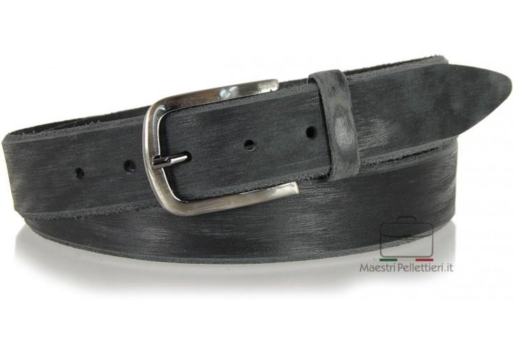 Cintura moda in Cuoio spazzolato con fibbia scurita Nero