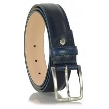Cintura uomo classica in pelle vegetale morbida, Blu