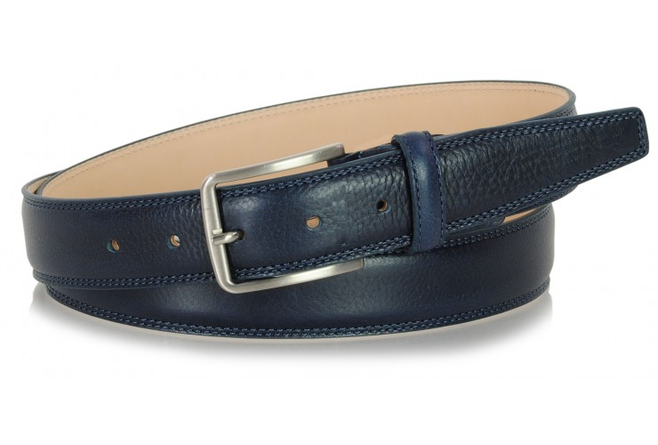 Classic and trendy belt in soft vegetable leather, Blue