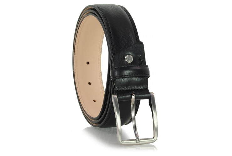 Classic and trendy belt in soft vegetable leather, Black