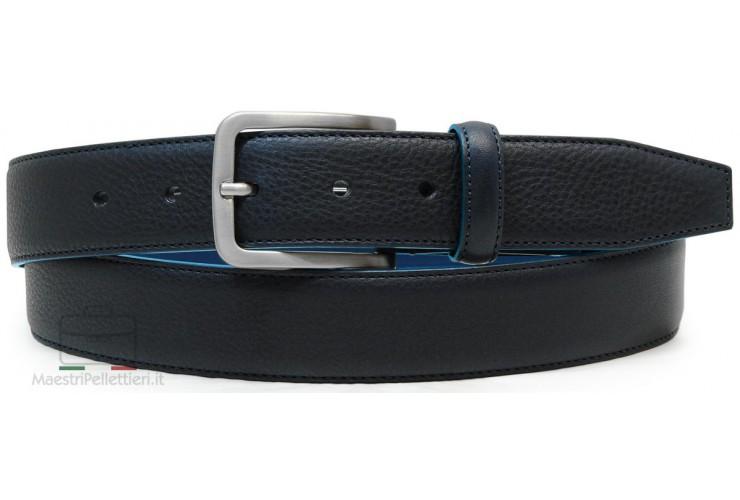 Cintura uomo Blu con bordo a contrasto celeste in pelle Volanata Vegetale
