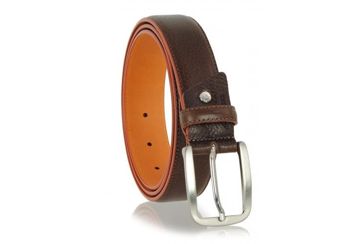 Men's Brown belt inner and edge Orange in contrast