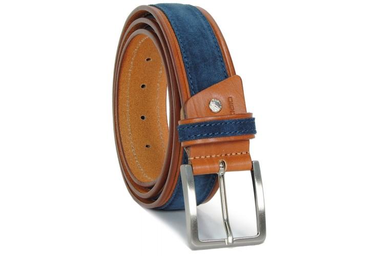 Cintura in Cuoio Cognac e Scamosciato Blu 4cm