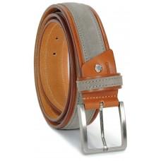 Cintura in Cuoio Cognac e Scamosciato Taupe 4cm