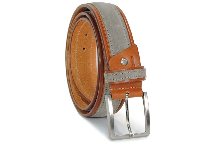 Belt in thick Leather Cognac end Suede leather Grey Taupe 4cm