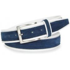 Cintura in Cuoio Bianco e Scamosciato Blu 4cm