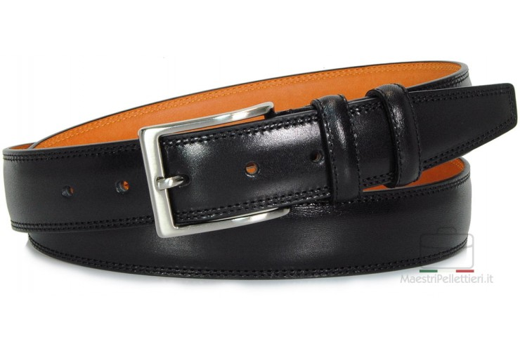 Men's Black belt with inner Orange contrasting