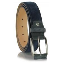 Cintura scamosciata in vera pelle Blu/Navy e Grigio