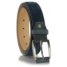 Belt in genuine suede leather Blue/Navy and Gray