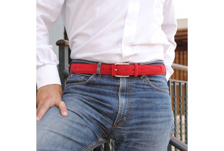 Belt in genuine suede leather Red