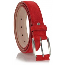 Cintura scamosciata in vera pelle Rosso