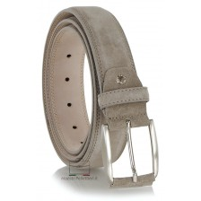 Cintura scamosciata in vera pelle Taupe Grigio