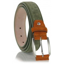 Cintura scamosciata in vera pelle Verde e Arancio