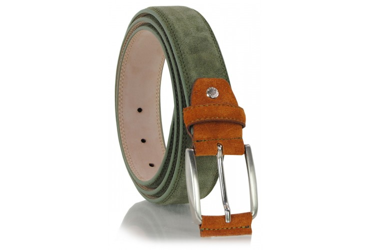 Belt in genuine suede leather Green and Orange