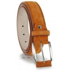 Cintura scamosciata in vera pelle Cognac