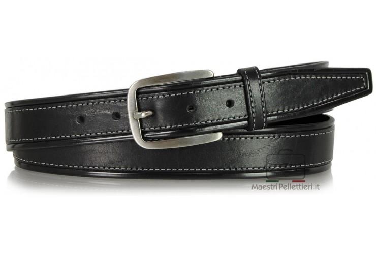 Cintura da Jeans sportiva 3.5cm in pelle Nero