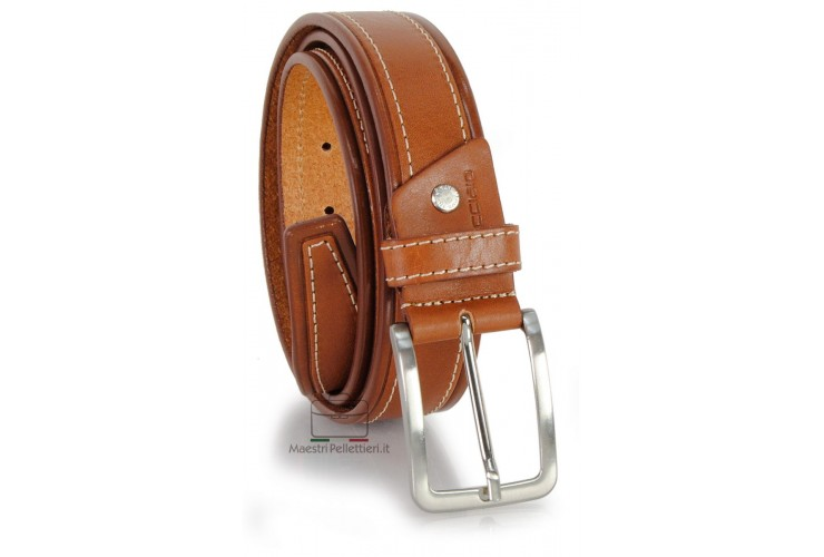 Cintura da Jeans sportiva 3.5cm in pelle Cuoio/Cognac