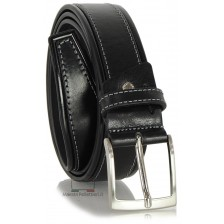 Cintura da Jeans sportiva 4cm in pelle Nero
