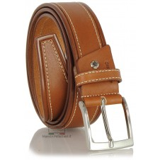Cintura da Jeans sportiva 4cm in pelle Cuoio/Cognac