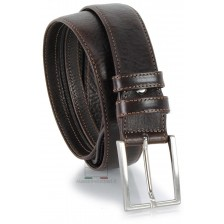 Cintura con cerniera Zip tasca segreta 3.5cm in pelle Marrone