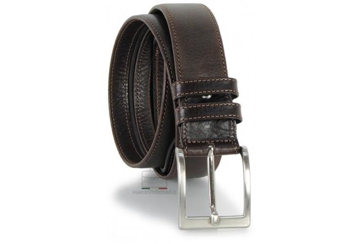 Cintura con cerniera Zip tasca segreta 4cm in pelle Marrone