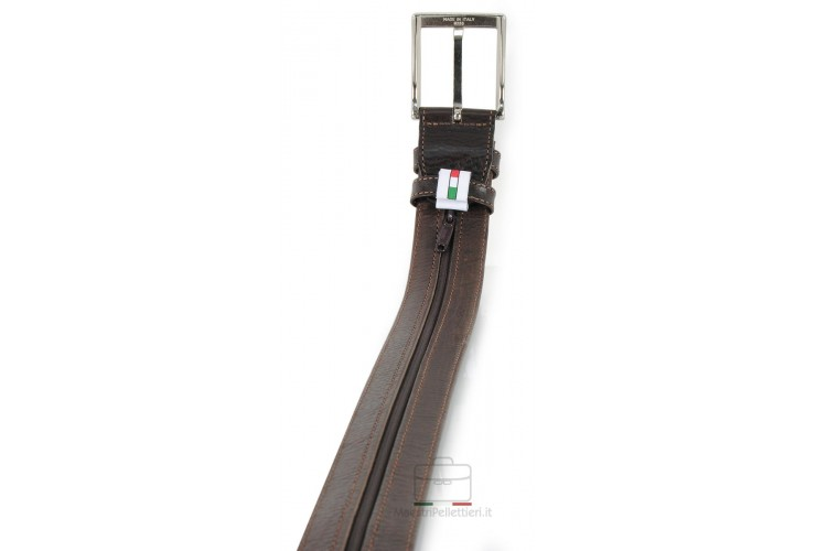 Belt with Zip secret money pocket 3.5cm Travelbelt in leather Brown
